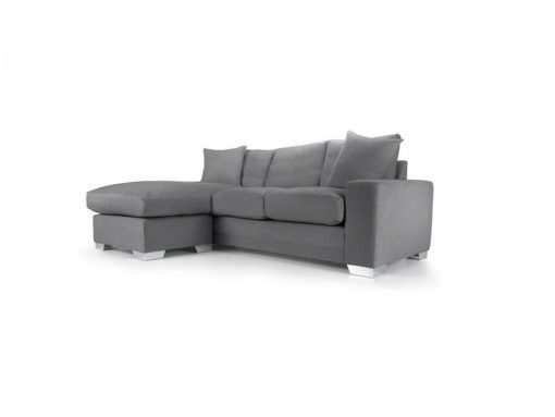Chelsea Chaise sofa in Senna Grey fabric 1 at Just British Sofas the luxury sofa experts