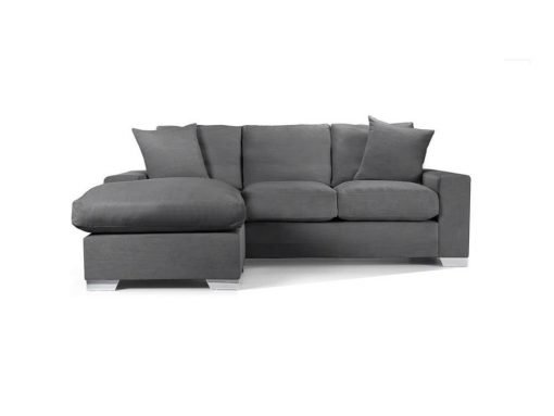 Chelsea Chaise sofa in Senna Grey fabric 2 at Just British Sofas the luxury sofa experts
