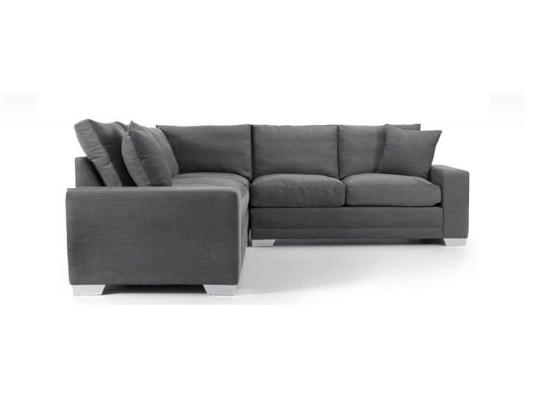Chelsea Luxury Corner sofa in Senna Grey fabric 2 at Just British Sofas the luxury sofa experts