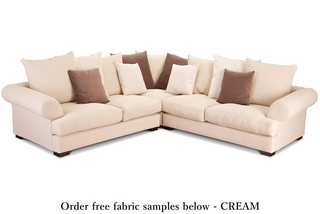 Belgravia corner sofa britsh made direct prices Cream fabric sofa