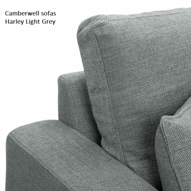 Camberwell chaise sofa in light grey at Just British Sofas