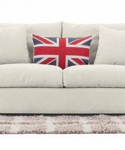 London sofa bed Chic model in cream linara fabric available at Just British Sofas image 1