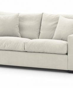 London sofa bed Chic model in cream linara fabric available at Just British Sofas image 2