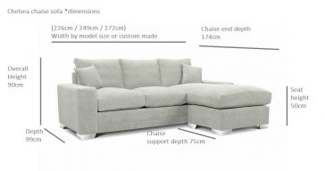 Chelsea-Luxury-Chaise-Sofas Dimensions Illustration