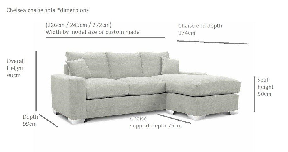 Chelsea chaise sofa marinello sofa bed option for Chaise dimensions