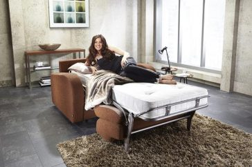 JAYBE CHAIR BED Retro Chair – Bed Dressed with Model A at Just British Sofas