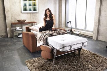 JAYBE CHAIR BED Retro Chair – Bed Dressed with Model B at Just British Sofas