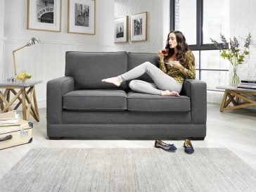 JAYBE MODERN SOFA – Modern Pocket – Sofa Front on with Model at Just British Sofas