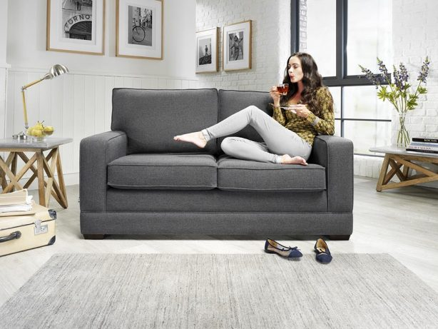 JAYBE MODERN SOFA - Modern Pocket - Sofa Front on with Model at Just British Sofas
