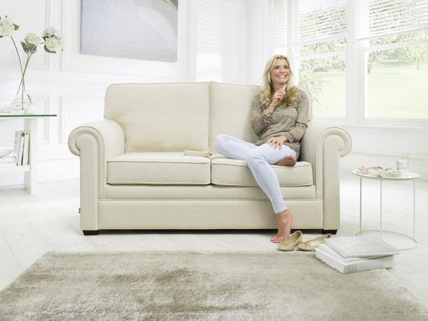 JAYBE SOFA BED Classic Pocket - Sofa Front On with Model at Just British Sofas the sofa bed experts
