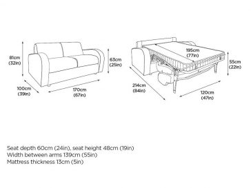 The M3 sofa bed at Just British Sofas 2 seater version 1
