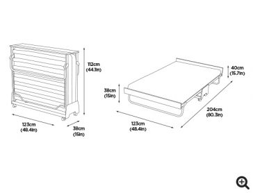 J-Bed® Memory Foam Small Double Folding Bed dims-preview