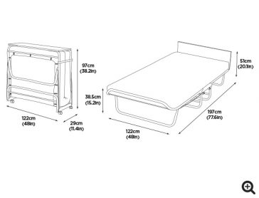 Supreme Memory Foam Small Double Folding Bed dims-preview
