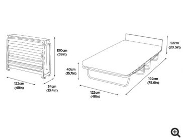 Jubilee Airflow Fibre Double Folding Bed with Cover dims-preview