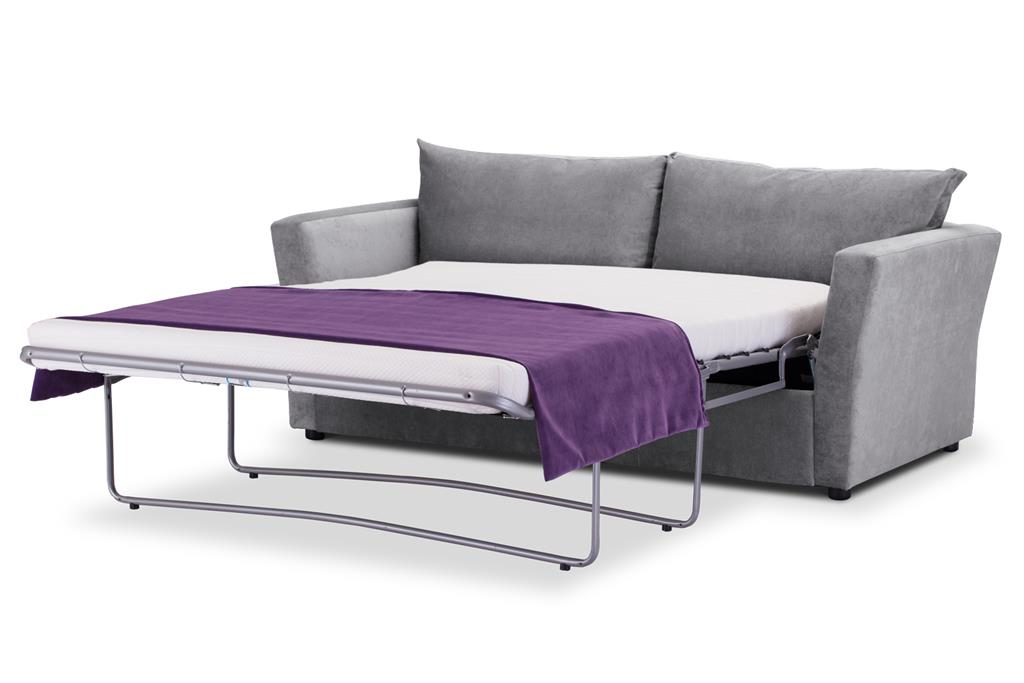 cial Offer Medium Sofa Bed with Flared Arms finished in Silver 3 Danza Fabric